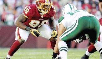 Redskins linebacker Brian Orakpo will miss the rest of the preseason after injuring his shoulder Saturday night at Chicago. (The Washington Times)