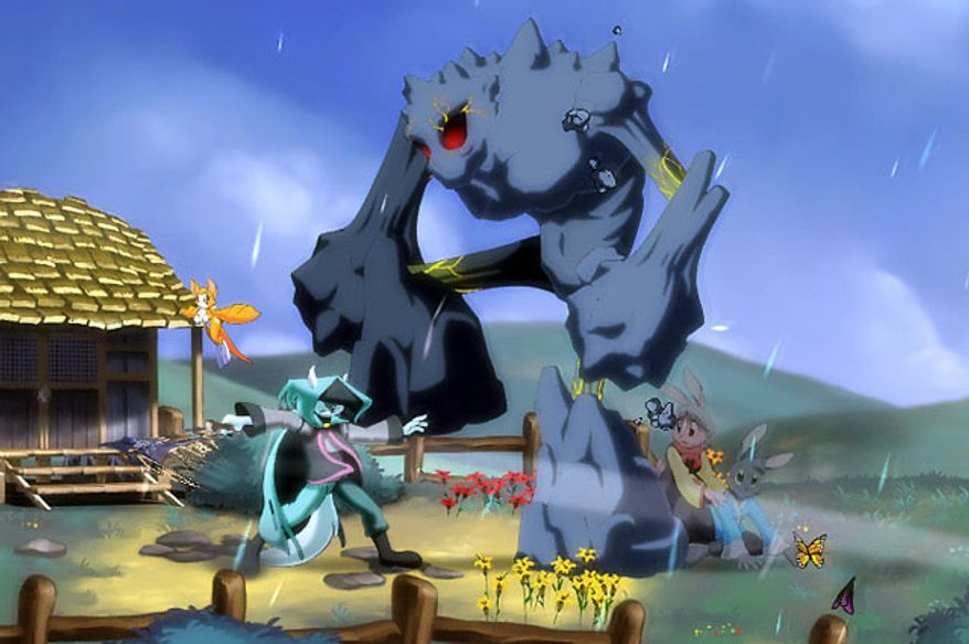 Our mysterious hero saves villagers from a giant monster in the video game Dust: An Elysian Tail.