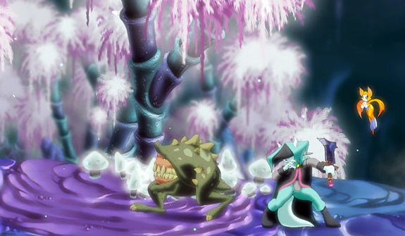Odd creatures attack Dust and his companion Fidget in the video game Dust: An Elysian Tail.