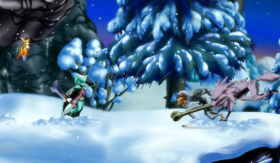 Snowy locations add to the beauty of battles in the video game Dust: An Elysian Tail.