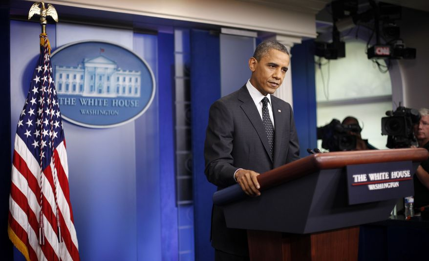 President Obama speaks in the White House briefing room in Washington on Monday, Aug. 20, 2012. (AP Photo/Pablo Martinez Monsivais)