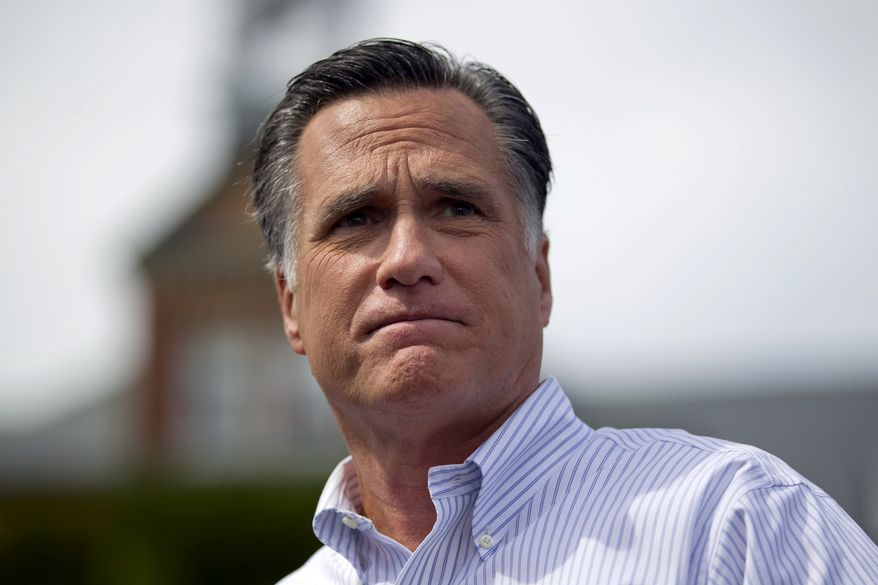 Republican presidential candidate Mitt Romney speaks during a campaign rally on Monday, Aug. 20, 2012, in Manchester, N.H. (AP Photo/Evan Vucci)
