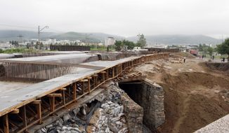 Construction is under way along railway lines linking tracks in Rason in far northeastern North Korea with Russian rail lines. The port of Rajin and the neighboring city of Sonbong together compose the Rason special economic zone being developed with help from foreign investment, particularly from China. (Associated Press)