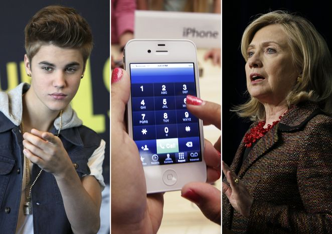 This photo combo shows (from left) entertainer Justin Bieber, an iPhone, and Secretary of State Hillary Rodham Clinton. This year's Beloit College Mindset List, a nonscientific compilation, is meant to remind teachers that college freshmen, born mostly in 1994, see the world in a much different way. (Associated Press)