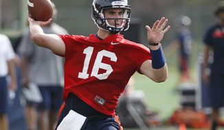 University of Virginia quarterback Michael Rocco (16) passes the ball during the first practice of the season Monday, Aug. 6, 2012, in Charlottesville, Va. (AP Photo/The Daily Progress, Sabrina Schaeffer)