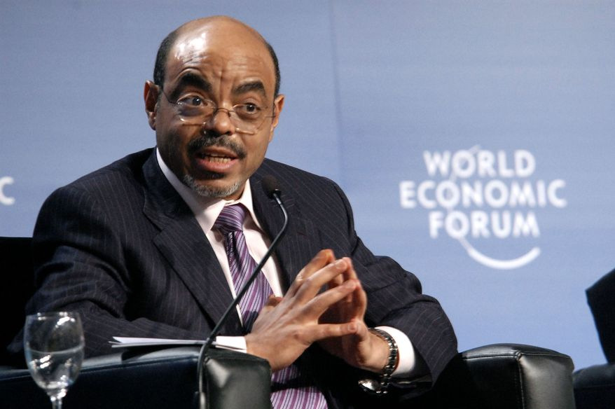 Ethiopian Prime Minister Meles Zenawi speaks during the 20th World Economic Forum on Africa in Dar es Salaam, Tanzania, in May 2010. (AP Photo/Khalfan Said)
