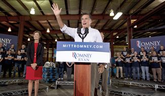 Mitt Romney, the presumptive Republican presidential nominee, speaks at a campaign stop at LeClaire Manufacturing in Midland, Texas, on Wednesday. (Associated Press)