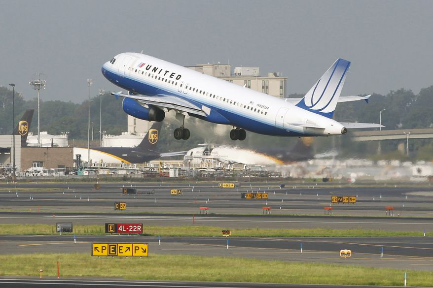 A United Airlines Airbus A320 passenger plane takes off from Newark Liberty International Airport in Newark, N.J., on Saturday, Aug. 11, 2012. (AP Photo/Mel Evans)