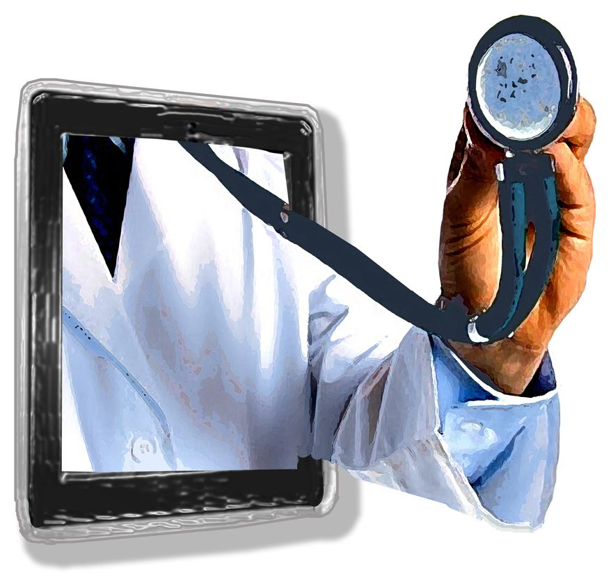 Illustration Telemedicine by John Camejo for The Washington Times