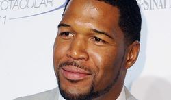 """FILE - This May 22, 2011 file photo shows former NFL football player Michael Strahan at The 26th Annual Sports Spectacular The Hyatt Regency Hotel Century City in Los Angeles, Calif. Strahan is in talks to be named co-host of """"Live!"""" beside Kelly Ripa. Strahan, a former NFL star and currently co-host of """"Fox NFL Sunday,"""" was in negotiations to be named as replacement for Regis Philbin, according to a source familiar with the talks. Broadcasting & Cable, citing multiple sources with knowledge of the situation, said ABC was expected to announce him as co-host in early September. (AP Photo/Katy Winn, file)"""