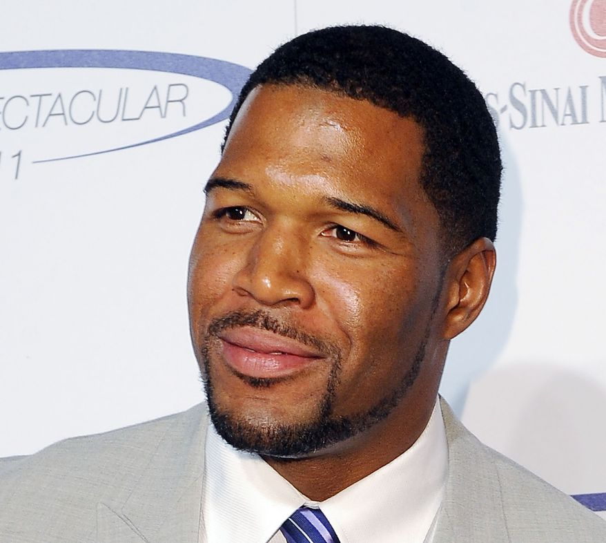 "FILE - This May 22, 2011 file photo shows former NFL football player Michael Strahan at The 26th Annual Sports Spectacular The Hyatt Regency Hotel Century City in Los Angeles, Calif. Strahan is in talks to be named co-host of ""Live!"" beside Kelly Ripa. Strahan, a former NFL star and currently co-host of ""Fox NFL Sunday,"" was in negotiations to be named as replacement for Regis Philbin, according to a source familiar with the talks. Broadcasting & Cable, citing multiple sources with knowledge of the situation, said ABC was expected to announce him as co-host in early September. (AP Photo/Katy Winn, file)"