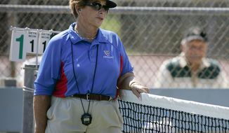 Professional tennis referee Lois Goodman officiates at a CIF tennis tournament in 2008. (AP Photo/Los Angeles Daily News, David Crane)