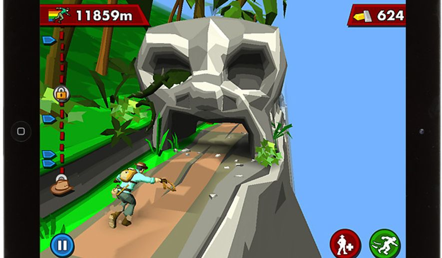 Famed explorer Harry is constantly on the run in the iPad game Pitfall.