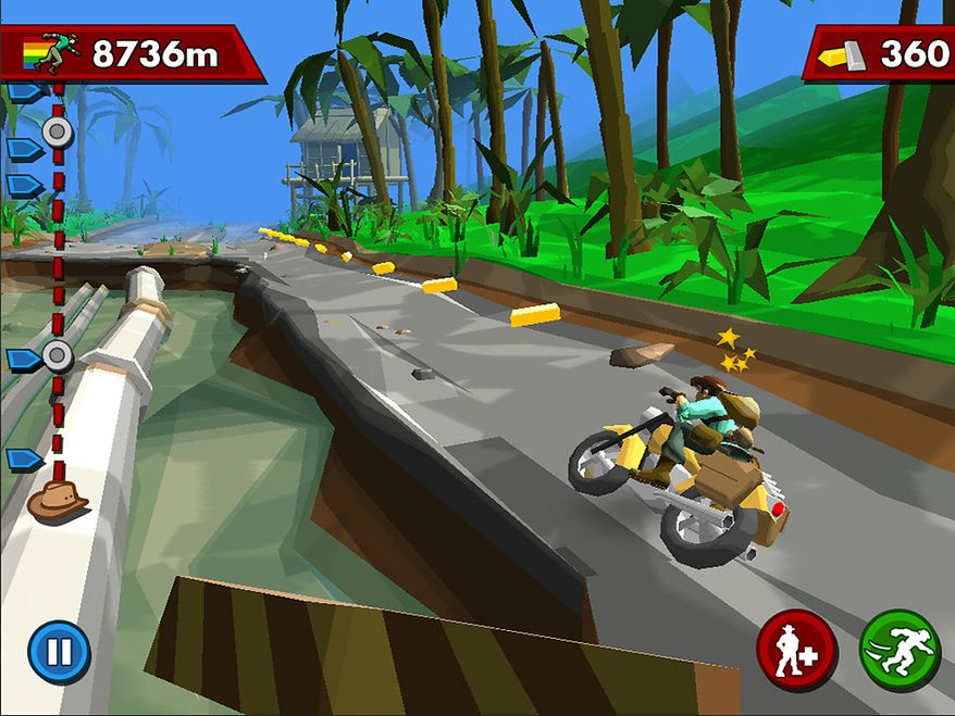 Harry occasionally uses a motorcycle in the iPad game Pitfall.