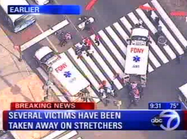 In this frame grab from WABC-TV, emergency personnel respond to reports of several people being shot outside the Empire State Building, Friday, Aug. 24, 2012, in New York. Authorities say the shooter is dead. (AP Photo/WABC-TV)