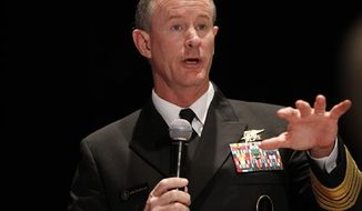 **FILE** Navy Adm. Bill McRaven, commander of the U.S. Special Operations Command, addresses the National Defense Industrial Association in Washington on Feb. 7, 2012. (Associated Press)