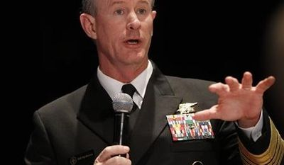 ** FILE ** Navy Adm. Bill McRaven, commander of the U.S. Special Operations Command, addresses the National Defense Industrial Association (NDIA), in Washington, in this Feb. 7, 2012, file photo. (AP Photo/Charles Dharapak, File)