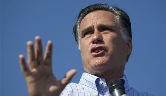 Republican presidential candidate, former Massachusetts Gov. Mitt Romney speaks during a campaign rally on Saturday, Aug. 25, 2012 in Powell, Ohio. (AP Photo/Evan Vucci)