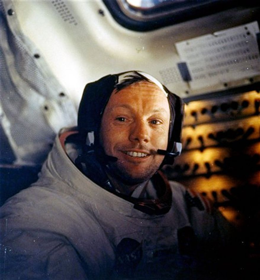 ** FILE ** This July 20, 1969, file photo provided by NASA shows Neil Armstrong. The family of Neil Armstrong, the first man to walk on the moon, says he died Saturday, Aug. 25, 2012, at age 82. (AP Photo/NASA)