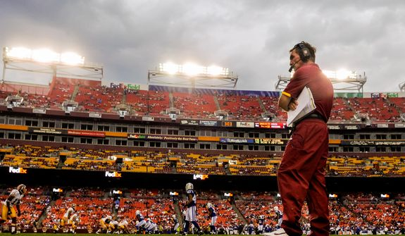 Washington Redskins head coach Mike Shanahan paces the sidelines at FedEx Field, Landover, Md. Aug. 25, 2012. (Preston Keres/Special to The Washington Times)