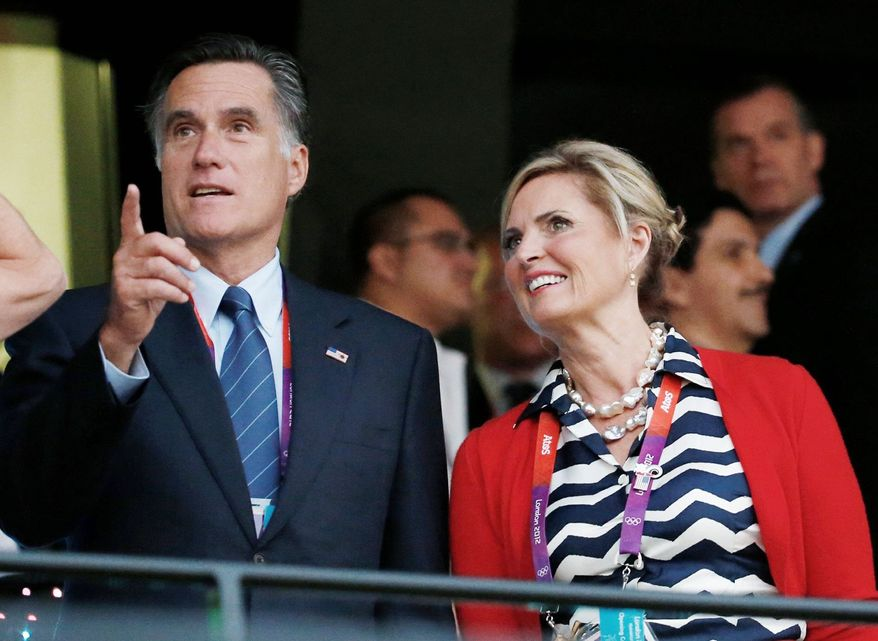 Former Massachusetts Gov. Mitt Romney and his wife, Ann, arrive for the Opening Ceremony at the 2012 Summer Olympics in London on July 27. (Associated Press)