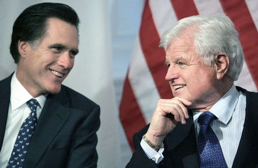 Mitt Romney talks with Sen. Edward M. Kennedy, Massachusetts Democrat, at the Statehouse in Boston in 2005. When Mr. Romney ran against Kennedy for a Senate seat in 1994, his candidacy appeared audacious, if not downright quixotic. (Associated Press)