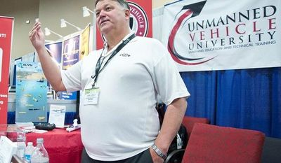 Retired Air Force Col. Jerry LeMieux, founder of the Unmanned Vehicle University, is waiting for FAA certification so graduates will be fully licensed by the federal government to operate drones. The university teaches a variety of subjects online, including vehicle design and system fundamentals. (Martin S. Fuentes/Special to The Washington Times)