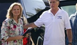 Republican presidential candidate, former Massachusetts Gov. Mitt Romney and his wife Ann arrive at Brewster Academy for convention preparations on Sunday, Aug. 26, 2012 in Wolfeboro, N.H. (AP Photo/Evan Vucci)