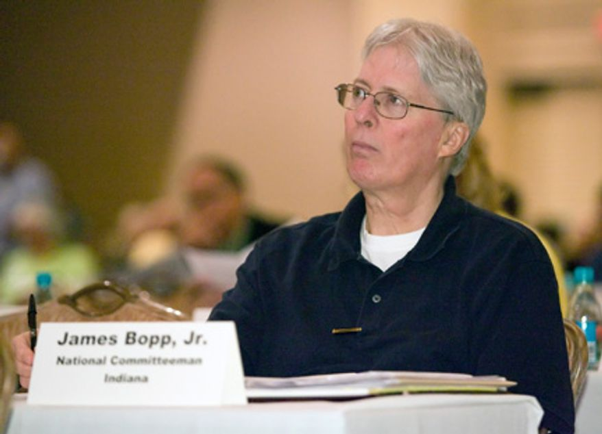 Republican National Committee Vice Chairman Jim Bopp helped prevent a floor fight on Tuesday, negotiating an agreement with the Romney campaign over proposed changes of rules involving the nomination process. (Associated Press)