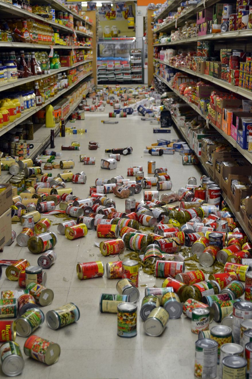 The El Sol Market in Brawley, Calif., was hit hard by an earthquake swarm on Sunday, Aug. 26, 2012. (AP Photo/Imperial Valley Press, Brandy Ronek)