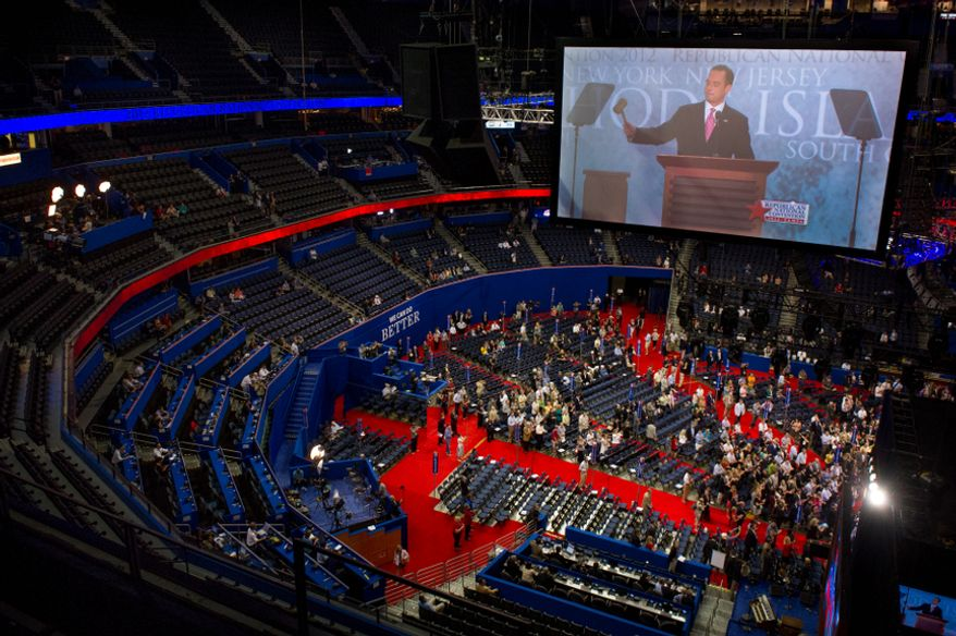 Reince Priebus, Chairman of the Republican National Committee, performs a symbolic gaveling Aug. 27, 2012, for the start of the Republican National Convention at the Tampa Bay Times Forum in Tampa, Fla. After making the declaration to a mostly empty room, Priebus promptly called a recess ahead of Tropical Storm Isaac, which was heading towards the city. (Andrew Harnik/The Washington Times)