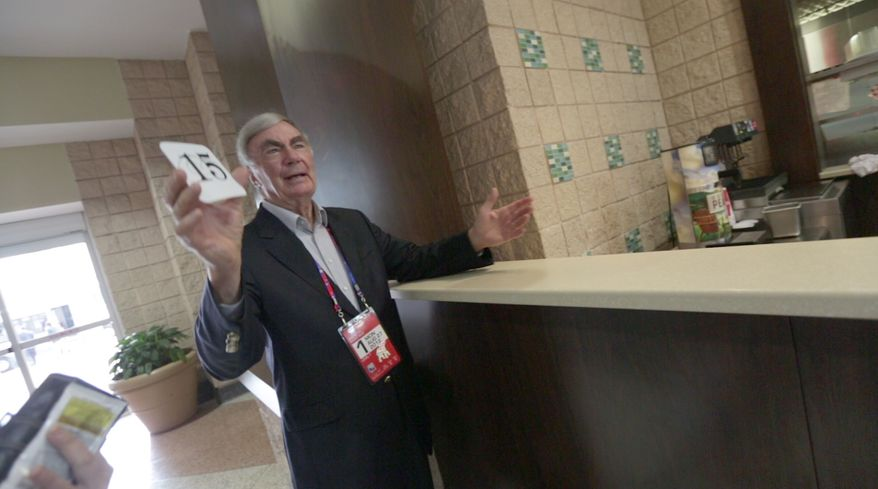 Sam Donaldson, on-air news anchor, waits for his lunch to be served at the National Republican Convention (RNC), in Tampa, FL., Monday, August 27, 2012. The RNC will run from the 27th through the 30th of August.(Andrew S. Geraci/The Washington Times)