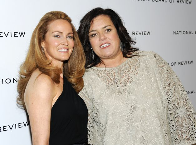 **FILE** Television personality Rosie O'Donnell (right) and her girlfriend, Michelle Rounds, attend the National Board of Review awards gala in New York on Jan. 10, 2012. (Associated Press)