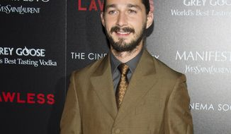 "**FILE** Shia LaBeouf attends a screening of ""Lawless,"" hosted by the Weinstein Company and the Cinema Society, in New York on Aug. 13, 2012. (Charles Sykes/Invision/Associated Press)"