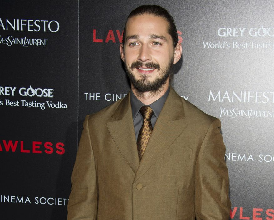 """**FILE** Shia LaBeouf attends a screening of """"Lawless,"""" hosted by the Weinstein Company and the Cinema Society, in New York on Aug. 13, 2012. (Charles Sykes/Invision/Associated Press)"""