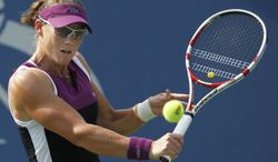 FILE - An Aug. 31, 2011 file photo shows Samantha Stosur of Australia returning a shot to Coco Vandeweghe during the U.S. Open tennis tournament in New York.  The defending U.S. Open champion ,Stosur is among the fittest women on the WTA tour. (AP Photo/Mike Groll, File)