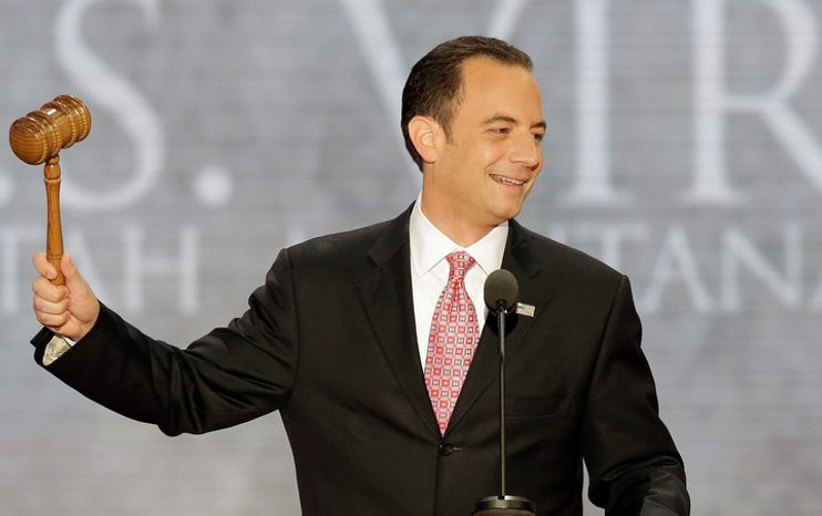 Reince Priebus, chairman of the Republican National Committee, gavels open the abbreviated first session of the Republican National Convention in Tampa, Fla., on Monday, Aug. 27, 2012. (AP Photo/J. Scott Applewhite)