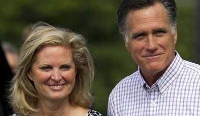 Republican presidential candidate, former Massachusetts Gov. Mitt Romney and his wife Ann, leave Brewster Academy after working on convention preparations, Monday, Aug. 27, 2012, in Wolfeboro, N.H. (AP Photo/Evan Vucci)