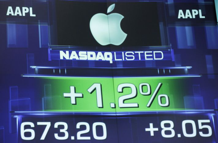 **FILE** The Apple share price is seen here Aug. 21, 2012, on a stock ticker at the Nasdaq MarketSite in New York. (Associated Press)