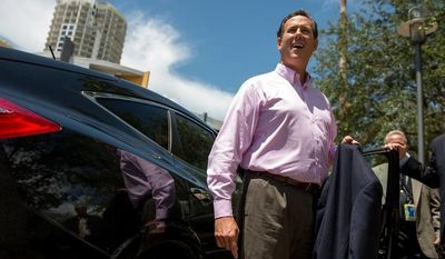 "Former presidential candidate Sen. Rick Santorum leaves after speaking at a ""treasure life"" event as part of the Republican National Coalition for Life and Republican National Convention, Tampa, Fla., Tuesday, August 28, 2012.   (Andrew Harnik/The Washington Times)"