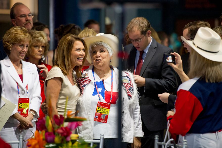 "Former presidential candidate Rep. Michele Bachmann attends a ""treasure life"" event as part of the Republican National Coalition for Life and Republican National Convention.   (Andrew Harnik/The Washington Times)"