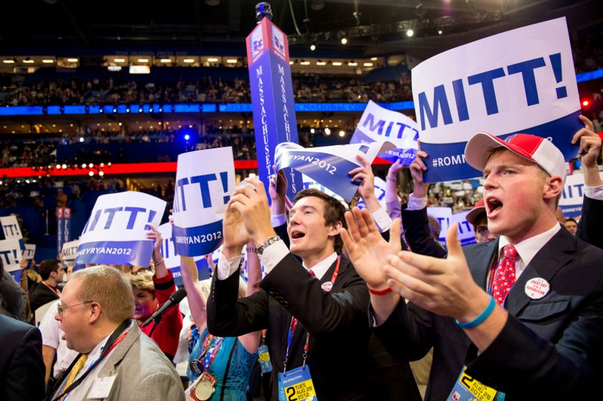 With New Jersey announcing their votes, Mitt Romney receives enough delegate votes to put him over the top as the Republican nomination for the next president of the United States at the Republican National Convention, Tampa, Fla., Tuesday, Aug. 28, 2012. (Andrew Harnik/The Washington Times)