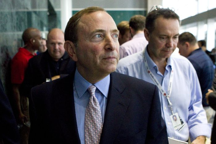 NHL commissioner Gary Bettman leaves after speaking to reporters after  NHL labor talks in Toronto, Thursday