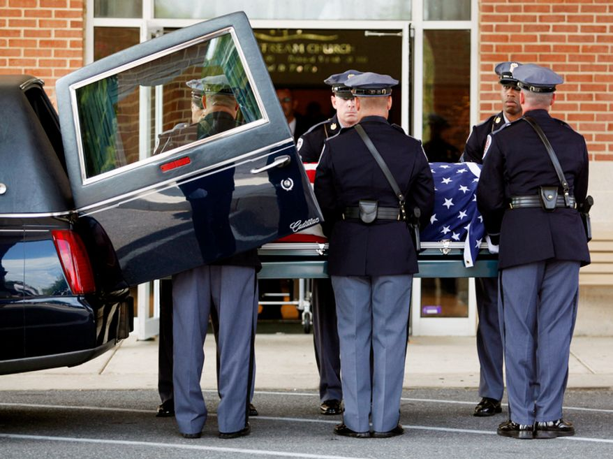 The funeral for Prince George's County police officer Adrian Morris begins at Woodstream Church in Mitchellville, MD, on August 28, 2012. Morris died in the line of duty on August 20, 2012. (Eva Russo/Special to The Washington Times)