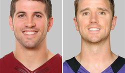 ** FILE ** From left are 2012 photos of former Washington Redskins kicker Graham Gano and Billy Cundiff, who was signed by the Redskins two days after being released by the Baltimore Ravens. (AP Photo/File)