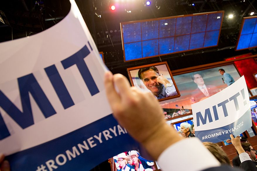 With New Jersey announcing their votes, Mitt Romney receives enough delegate votes to put him over the top as the Republican nomination for the next president of the United States at the Republican National Convention, Tampa, Fla., Tuesday, August 28, 2012. (Andrew Harnik/The Washington Times)