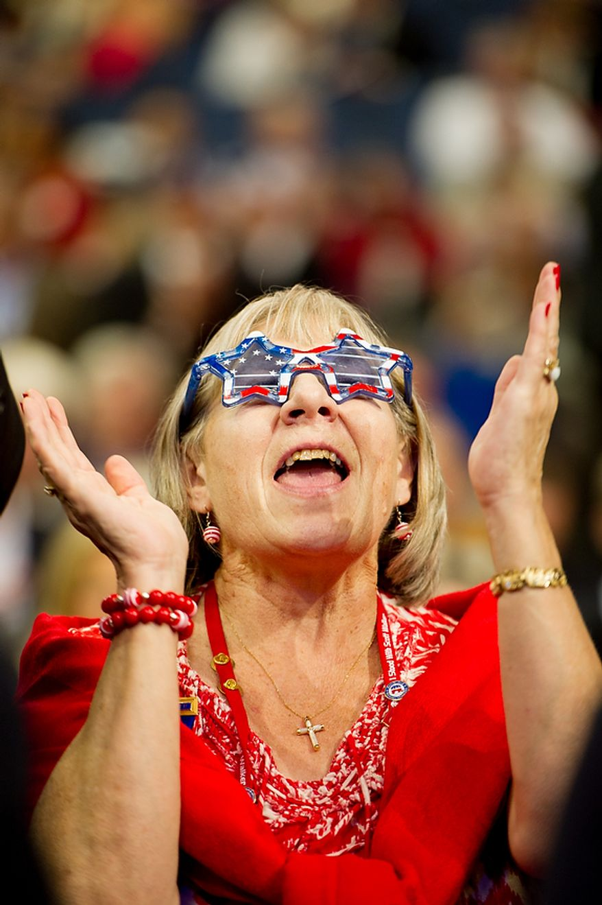 A wisconsin delegate cheers as Paul Ryan is nominated as the republican vice presidential nominee at the Republican National Convention, Tampa, Fla., Tuesday, August 28, 2012. (Andrew Harnik/The Washington Times)