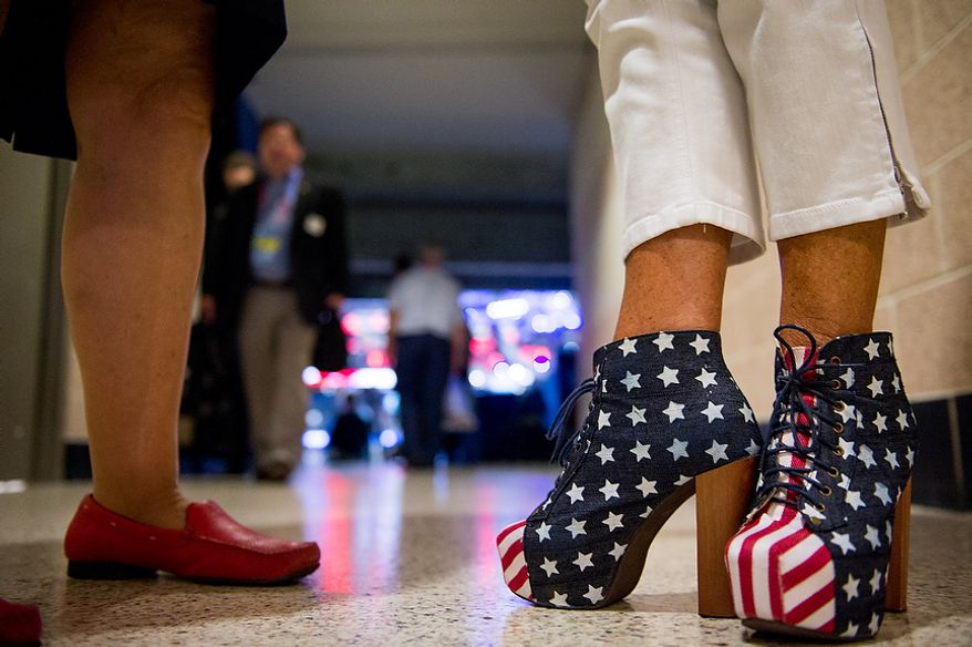 Alternative delegate for American Samoa Alice Butler-Short, right, wears American Flag high-heels at the Republican National Convention, Tampa, Fla., Tuesday, August 28, 2012. (Andrew Harnik/The Washington Times)
