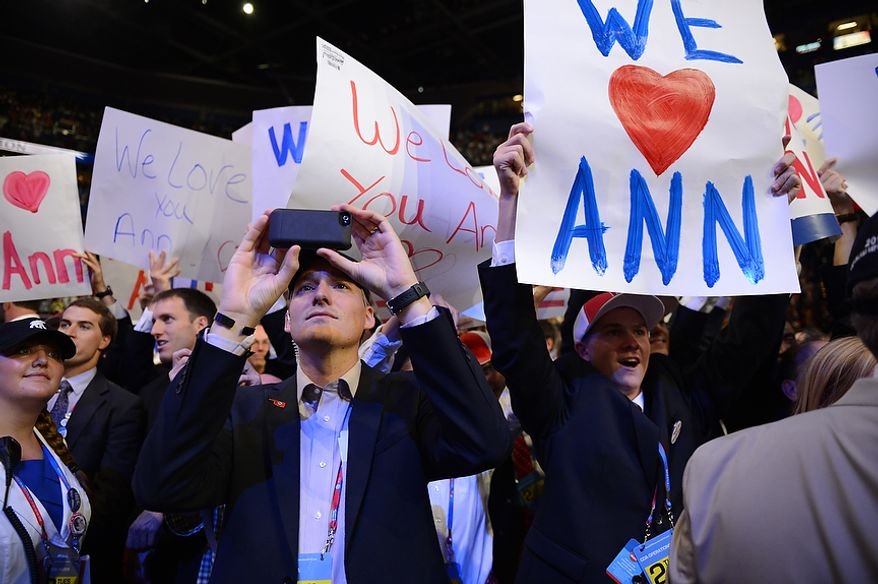Delegates cheer Ann Romney, wife of nominated Republican presidential candidate, Mitt Romney, as she addresses the Republican National Convention at the Tampa Bay Times Forum in Tampa, Fla. on Tuesday, August 28, 2012. (Andrew Harnik/ The Washington Times)