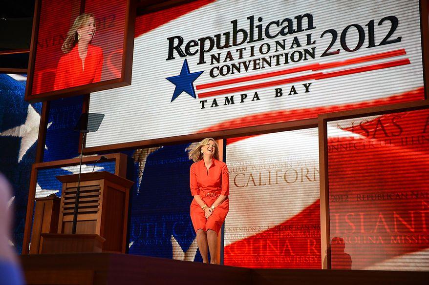 Ann Romney, wife of nominated Republican presidential candidate, Mitt Romney, reacts to cheers before she addresses the Republican National Convention at the Tampa Bay Times Forum in Tampa, Fla. on Tuesday, August 28, 2012. (Andrew Harnik/ The Washington Times)